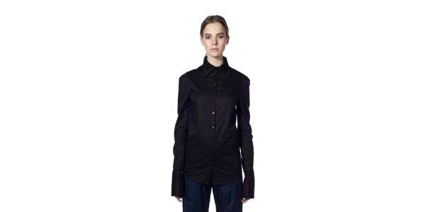 Dámska čierna košeľa so širokými manžetami Gene