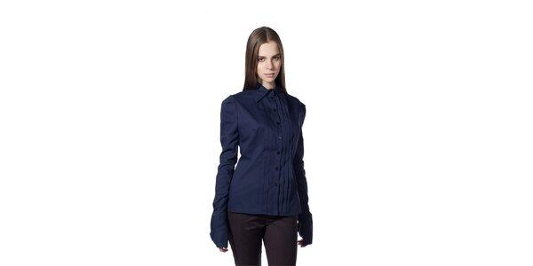 Dámska tmavo modrá košeľa s plisovaním Gene