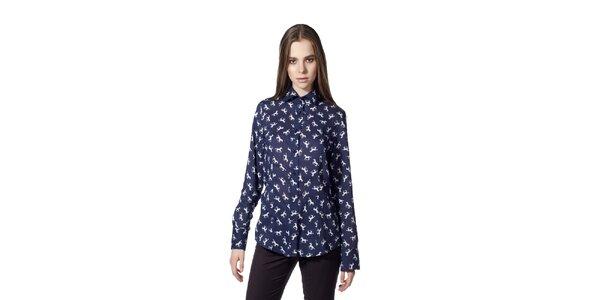 Dámska modrá košeľa s motívom koní Gene