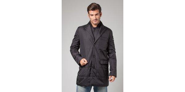 Pánsky čierny prešívaný kabát More Down Eight s vestou