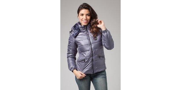 Dámska šedo-strieborná zimná prešívaná bunda More Down Eight