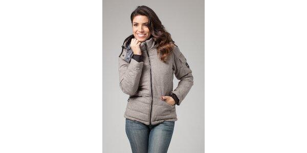 Dámska béžovo-šedá zimná prešívaná bunda More Down Eight s potlačou