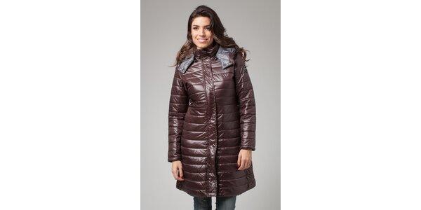 Dámsky tmavo hnedý zimný prešívaný kabát More Down Eight