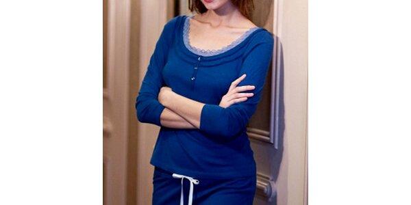 Dámske modré tričko s trojštvrťovými rukávmi Les Affaires