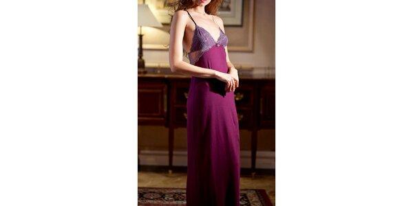 Dámska fialová dlhá nočná košeľa Les Affaires
