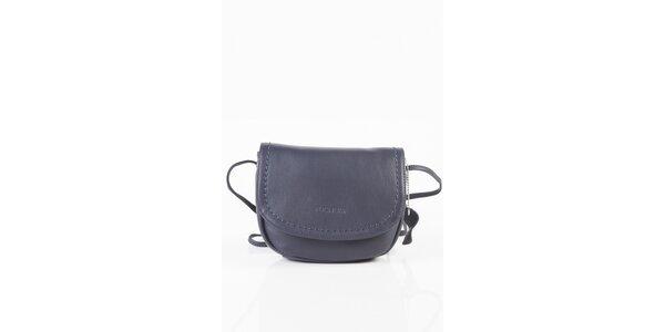Dámska tmavo modrá kožená kabelka Fuchsia