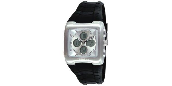 Strieborné hodinky s čiernym remienkom RG512