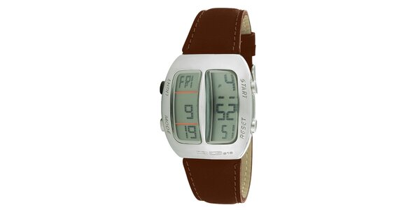 Strieborné digitálne hodinky s hnedým koženým remienkom RG512