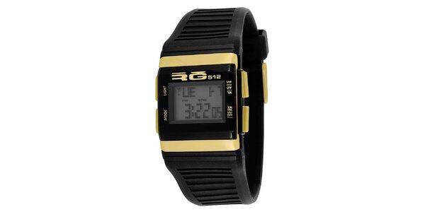 Čierne digitálne hodinky so žltými detailmi RG512