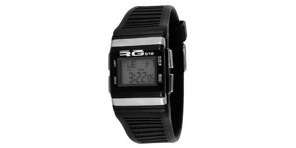 Čierne digitálne hodinky so striebornými detailmi RG512