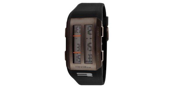 Hnedé digitálne hodinky s polovičným displejom RG512
