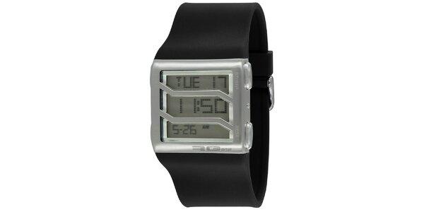 Strieborné hranaté digitálne hodinky s čiernym remienkom RG512