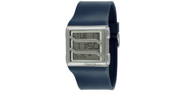 Strieborné hranaté digitálne hodinky s modrým remienkom RG512