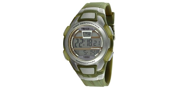 Zelenostrieborné okrúhle digitálne hodinky RG512
