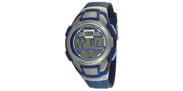 Modrostrieborné okrúhle digitálne hodinky RG512