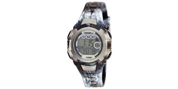 Okrúhle digitálne hodinky s žíhaným remienkom RG512