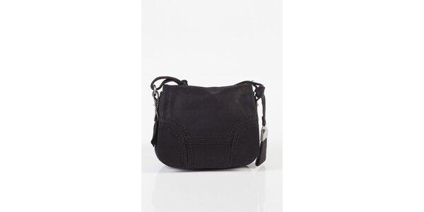 Malá dámska čierna kožená kabelka Fuchsia