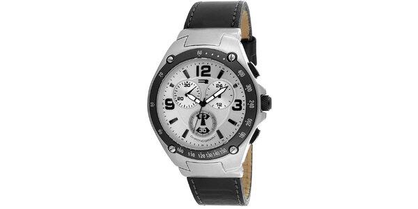 Okrúhle oceľové hodinky s tachometrom a čiernym remienkom RG512