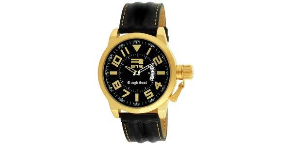Okrúhle oceľové hodinky zlatej farby s čiernym remienkom RG512