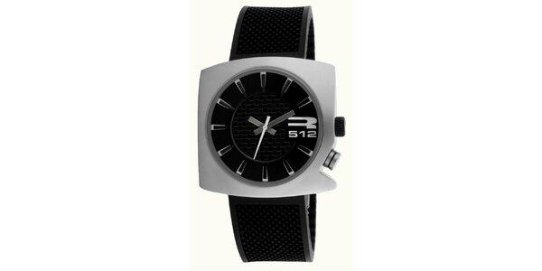 Oceľové futuristické hodinky s koženým čiernym remienkom RG512