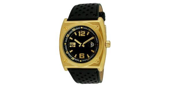 Oceľové hodinky zlatej farby s čiernym perforovaným remienkom RG512