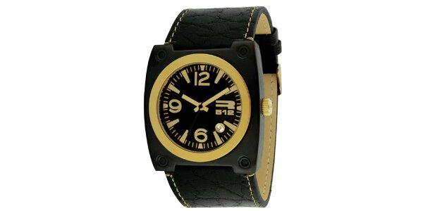 Čierne hranaté hodinky s dátumovkou RG512