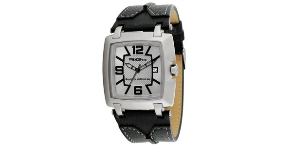 Analógové hodinky s koženým čiernym remienkom RG512