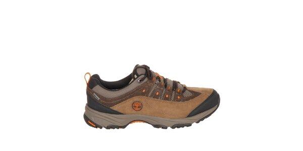Pánske hnedé trekové topánky s oranžovými detailmi Timberland