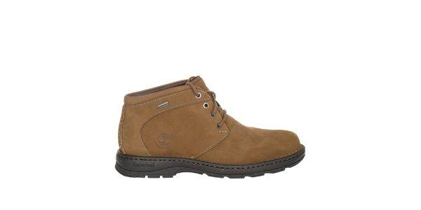Pánske béžové šnurovacie členkové topánky Timberland