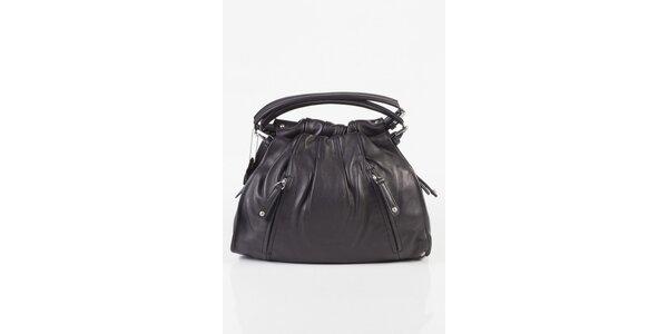 Dámska čierna kožená kabelka Fuchsia