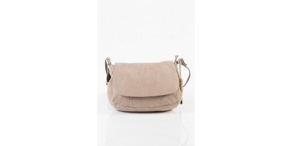 Malá dámska kožená kabelka Fuchsia v bežovej farbe