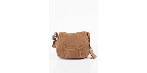 Malá dámska ťavia kožená kabelka Fuchsia