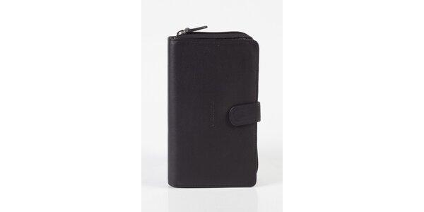 Dámska čierna kožená peňaženka Fuchsia