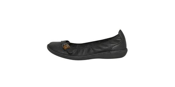 Dámske čierne kožené baleríny s remienkom Buggy