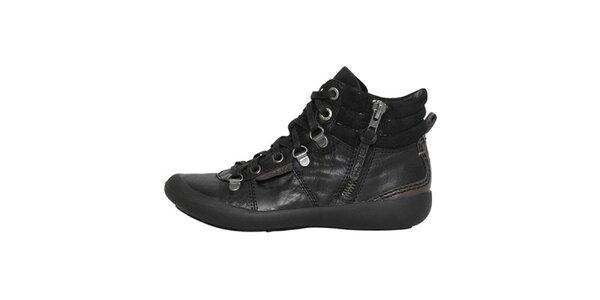 Dámske čierne topánky so zipsom a šnurovaním Buggy