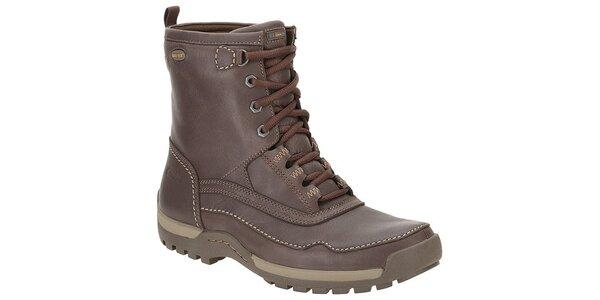 Pánske tmavo hnedé vysoké kožené topánky Clarks s GTX membránou