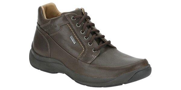 Pánske ebenovo hnedé kotníkové topánky Clarks s GTX membránou