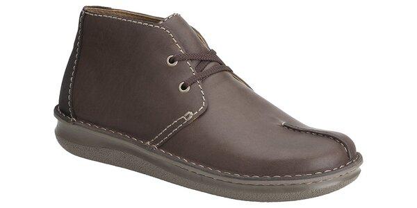 Pánske hnedé kotníkové topánky Clarks