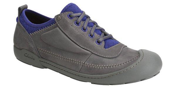Pánske tmavo šedé tenisky Clarks s modrými detailami
