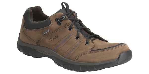 Pánske hnedé športové topánky Clarks s GTX membránou