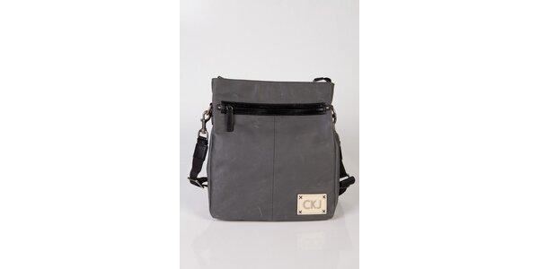 Šedá kožená taška cez rameno Calvin Klein