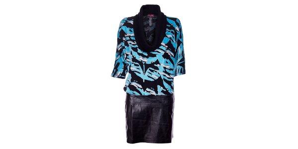 Dámske čierne šaty Custo Barcelo so svetlo modrým plyšovým vzorom a koženkovou…