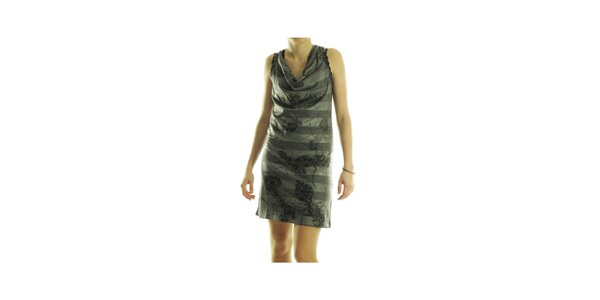 Dámske šedé pruhované šaty Custo Barcelona s potlačou