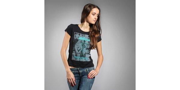 Dámske čierne tričko Diesel s potlačou