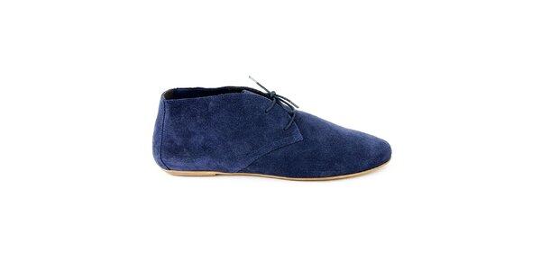 Dámske modré semišové členkové topánky Eye