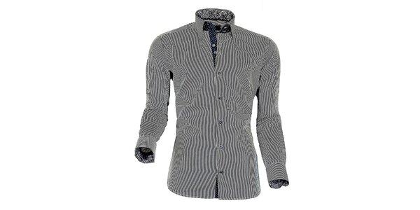 Pánska modro-biela prúžkovaná košeľa z Premium kolekcie Pontto
