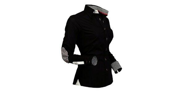 Dámska čierna košeľa s kockovanými detailmi Pontto