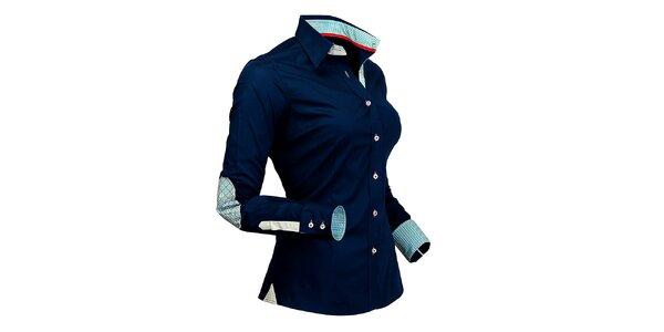 Dámska tmavo modrá košeľa s kockovanými detailmi Pontto