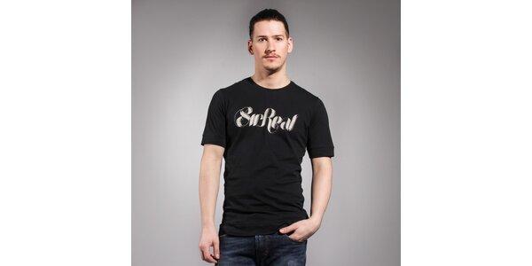Pánske čierne tričko Diesel s bielym logom