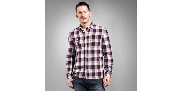 Pánska fialovo-hnedá kockovaná košeľa Diesel